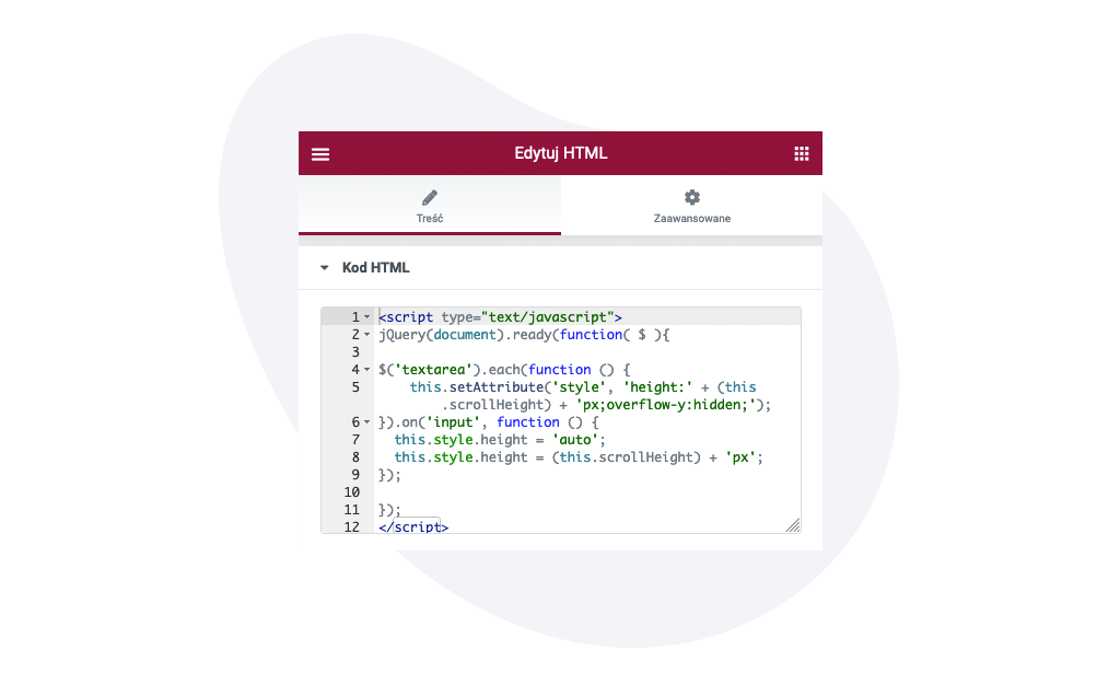 Elementor blok HTML